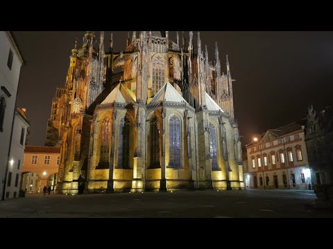 Golden Prague Cathedral  Stock Video
