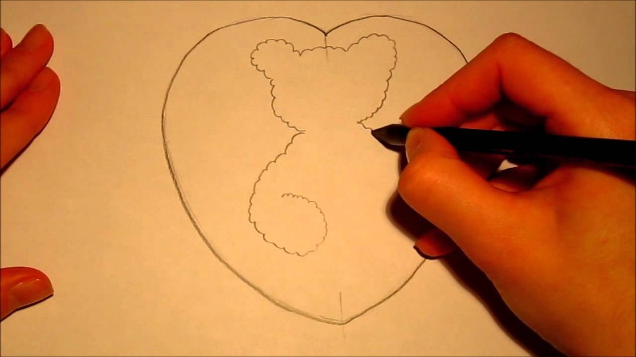 How to make Valentines Day Card Heart of Teddy Bear YouTube – Teddy Bear Valentines Day Card
