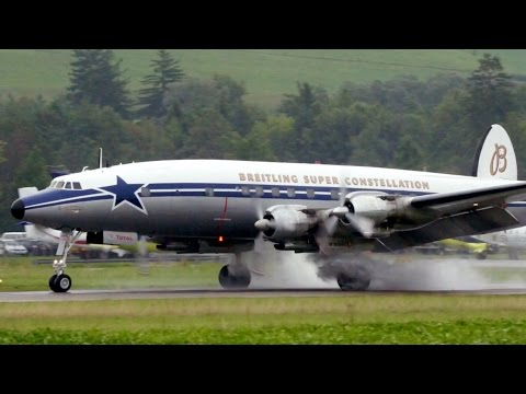 Super Constellation ✈ Extreme Wet Take Off & Landing at Bern