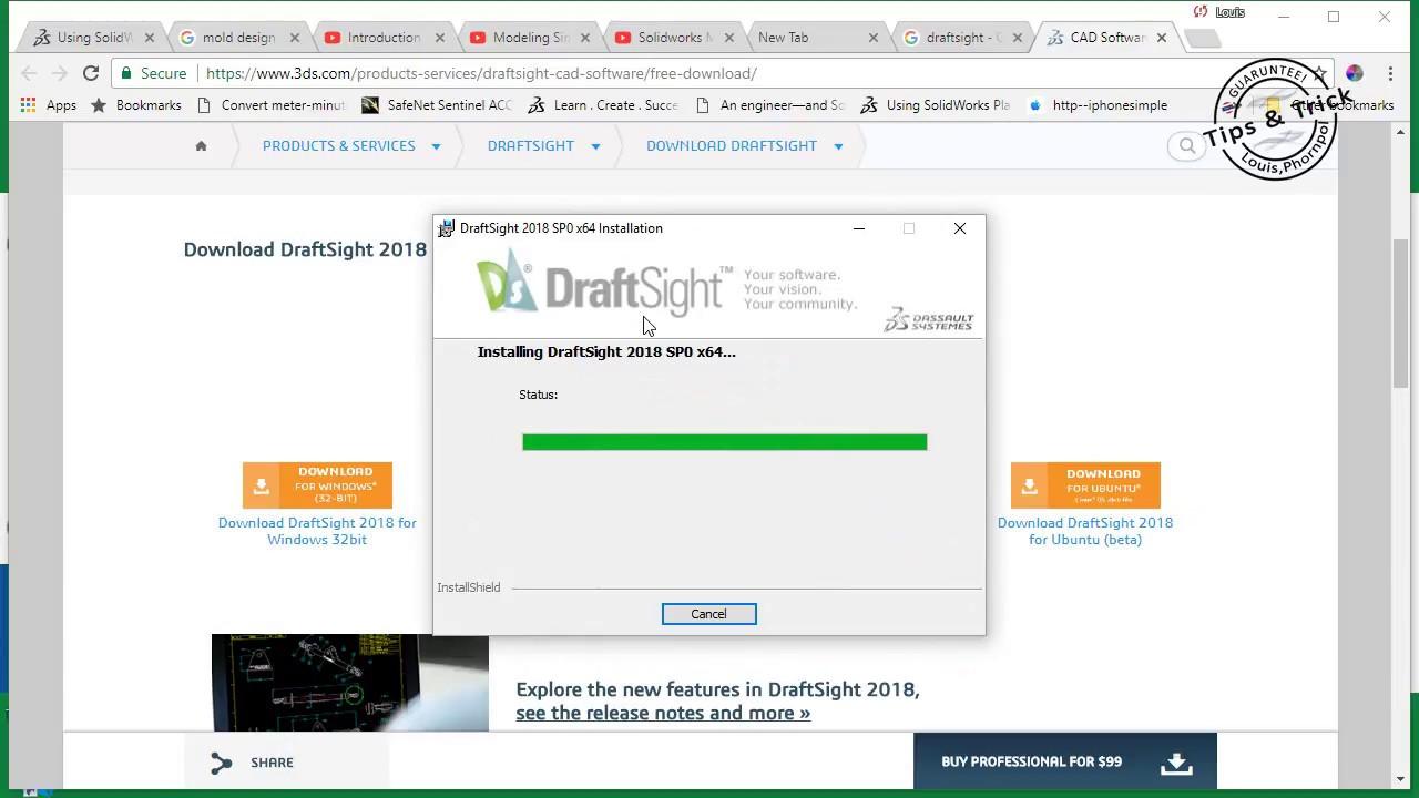 การลงโปรแกรมเขียนแบบสองมิติ 2D DRAFTSIGHT® 2018