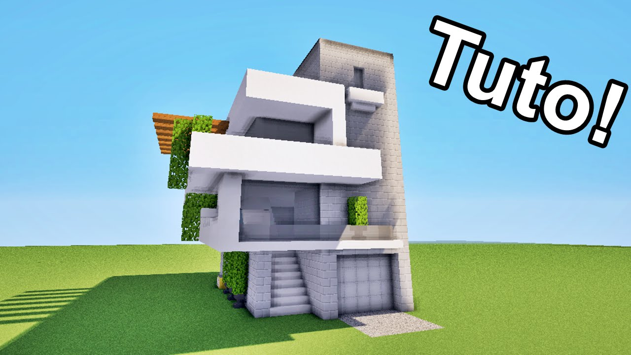 Minecraft tuto grande maison moderne map youtube for Plan maison minecraft moderne