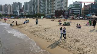 4K 해안도로 광안리 휴식 맨발산책 모래놀이 원반던지기…