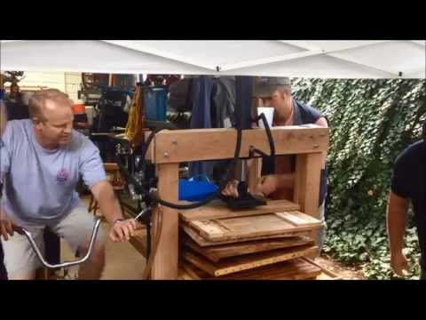 Human-powered Apple Cider Using Bicycles, Hydraulics, And A Woodchipper
