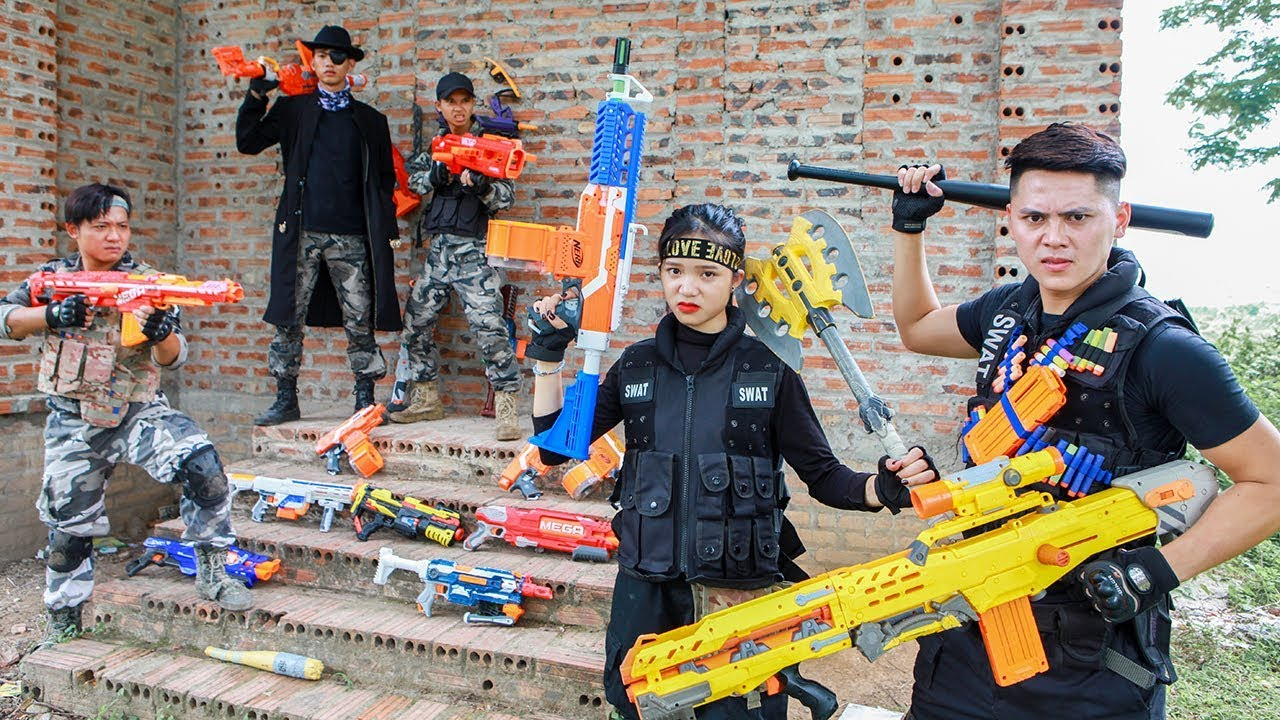 LTT Nerf War : Couple SEAL X Warriors Nerf Guns Fight Criminal Group Dr Lee Buy Sell Weapons