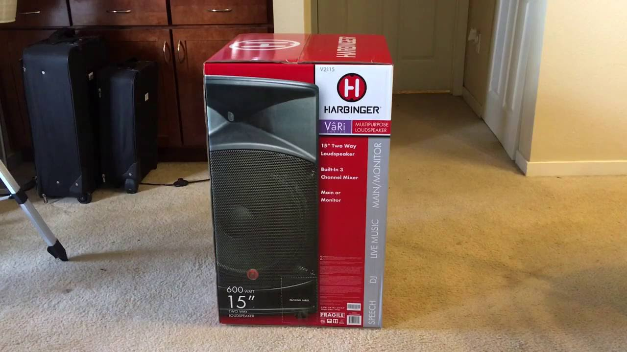 harbinger v2115 15 powered pa speaker unboxing youtube. Black Bedroom Furniture Sets. Home Design Ideas