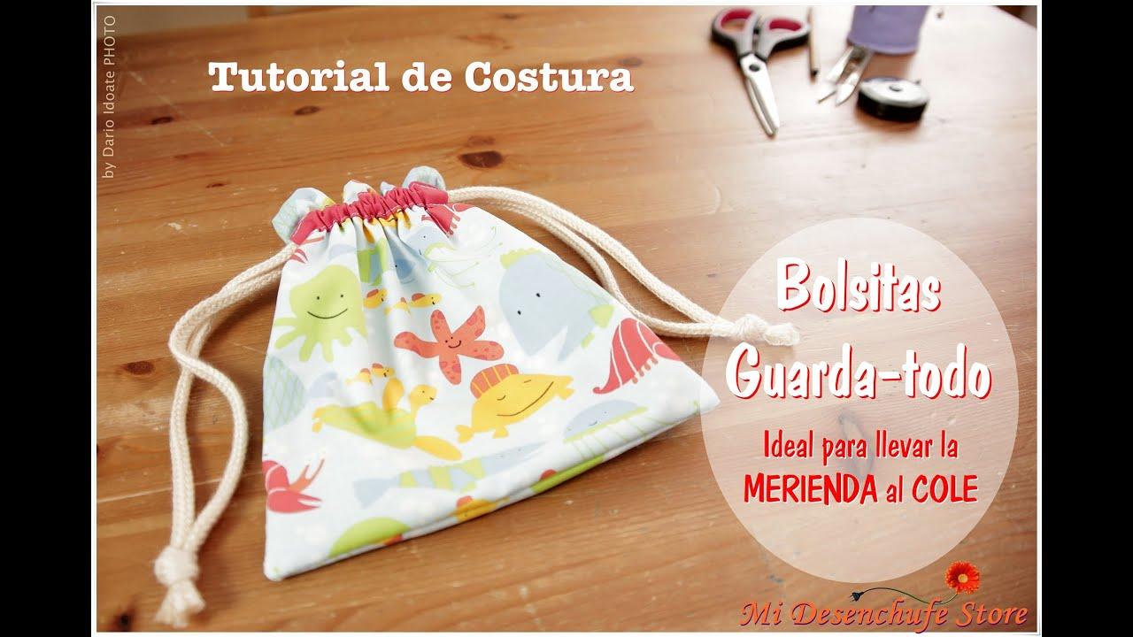 fee2fa076 Tutorial #11 - Como hacer una Bolsita para la Merienda - How to make a bag  for a snack