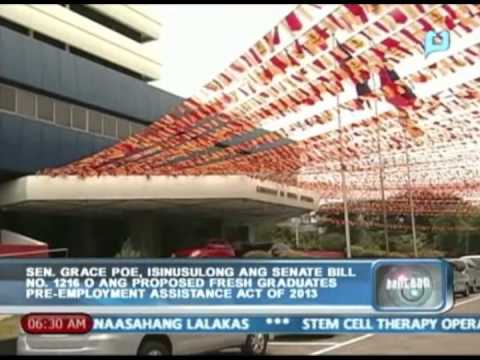 Balitaan: Sen. Poe, isinusulong ang proposed fresh graduates pre-employment assistance act of 2013