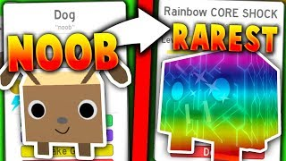 NOOB WITH RAREST POSSIBLE PET!! (RAINBOW CORE SHOCK!) - Roblox Pet Simulator *INSANE*