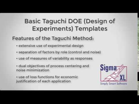 Sigmaxl Taguchi Templates Introduction Video Part 1 Of 2 Youtube