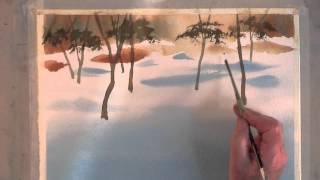 Painting Dappled Sunlight on the Snow in Watercolor