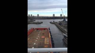 Time lapse of vessel leaving dry dock in Sunderland