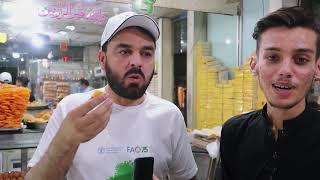 Peshawar food street Jalandhar Indian Moti Chur Ladoo and Quetta chaye waye In Peshawa