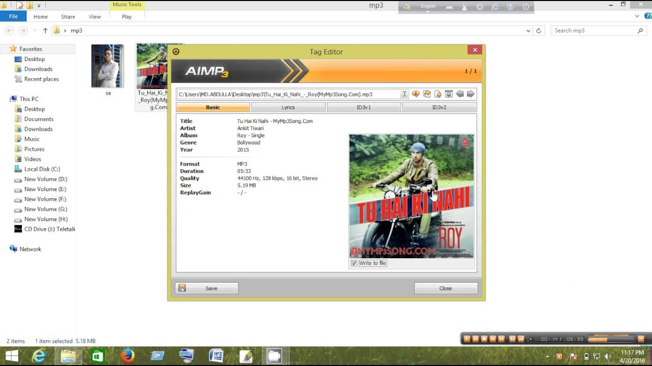 how to set my photo in mp3 song by aimp3 player