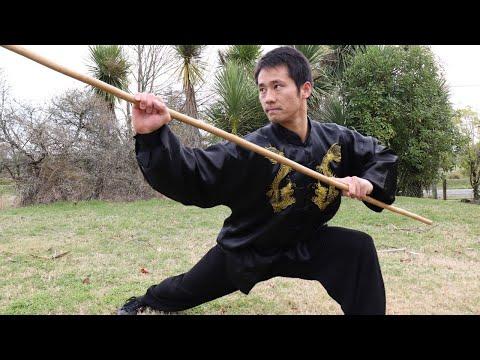 Shaolin Kung Fu Wushu Basic Staff Training for Beginners