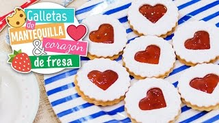 Butter heart cookies with strawberry jam | Christmas recipe