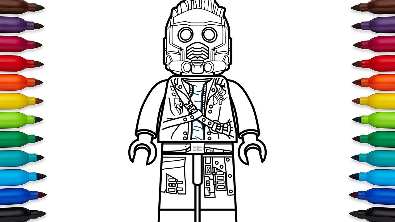 How to draw Lego Star Lord Peter Quill from Marvel 39 s