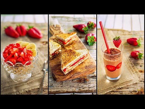 3 IDEE per la COLAZIONE SANA | Con fragole e banane FACILI VELOCI LIGHT | 3 healthy breakfast ideas