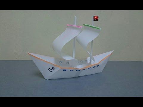 Kağıttan gemi yapımı, kağıttan yelkenli nasıl yapılır?( Deneme-1)