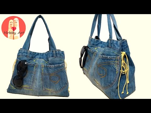 DIY Tutorial Riciclo Borsa Jeans - Recycled Denim Bag from YouTube · Duration:  12 minutes 15 seconds