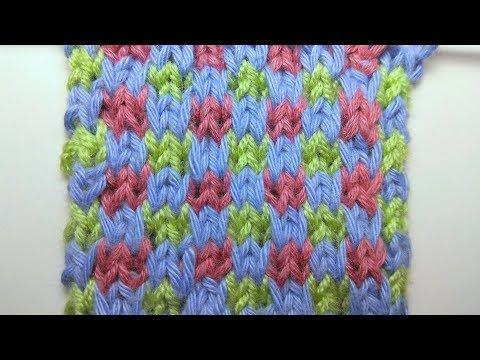 Knitting patterns *Colored chess* slipped stitch knitting