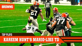 Baker mayfield has seen this move before somewhere... kareem hunt leaps into the endzone super -likemario-style to help browns defeat philadelphia...