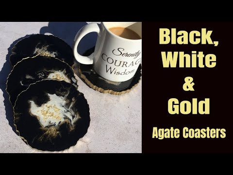 Black, White and Gold Agate Coaster