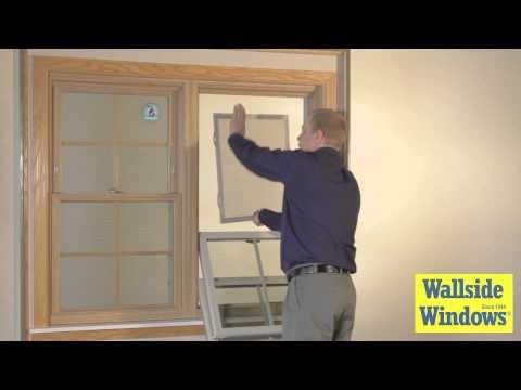 Double hung window half screen operation youtube for Wallside windows
