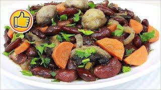 Жаркое (Постное) с Фасолью и Грибами на Сковороде | Roast (Lean) with Beans