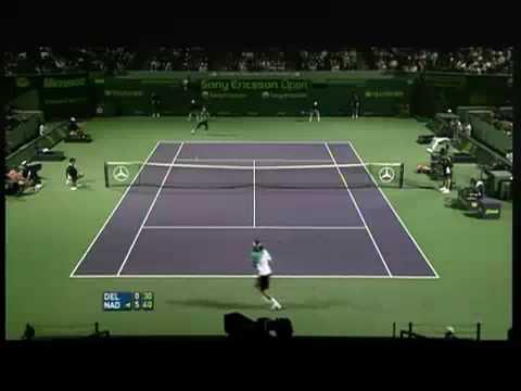 Nadal's unbelievable backhand slice vs. Juan Martin del Potro, Miami Masters 2007.mp4