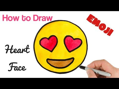 How To Draw Emoji Smiling Face With Heart Shaped Eyes | Emoji Drawings
