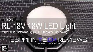 RL-18V Link Star RL-18V 18W 5600K Round Ultrathin Soft Daylight LED Photo Video Film Shooting Continuous Portable Pocket Light Dimmable