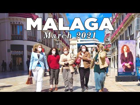 Malaga City, Port, Market, Restaurants  - Walking Tour in March 2021, Spain [4K]