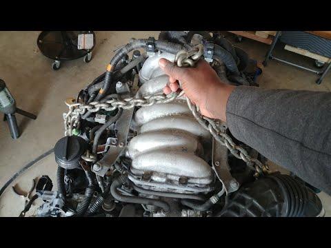 How to lift an engine securely. VK45DE hoist brackets.