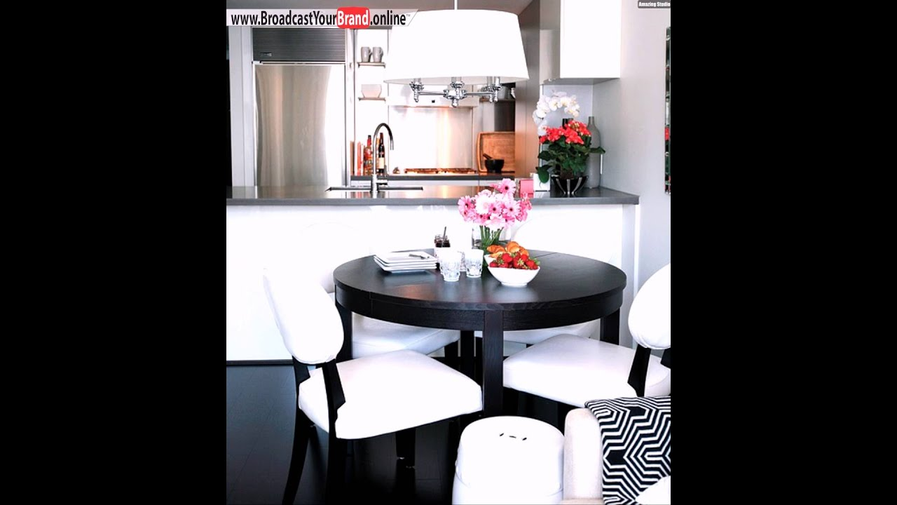 esszimmer k che bar theke wei e polsterst hle dunkler holztisch youtube. Black Bedroom Furniture Sets. Home Design Ideas
