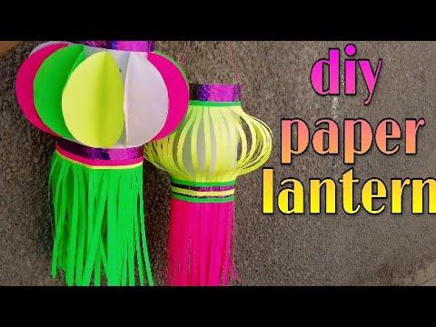 how to make paper lantern ; how to make akash kandil,paper diwali decoration idea