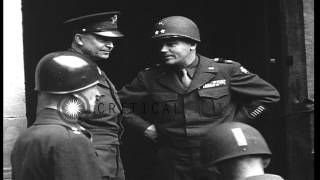 United States Army General Dwight Eisenhower visits HQ in Germany near the end of...HD Stock Footage