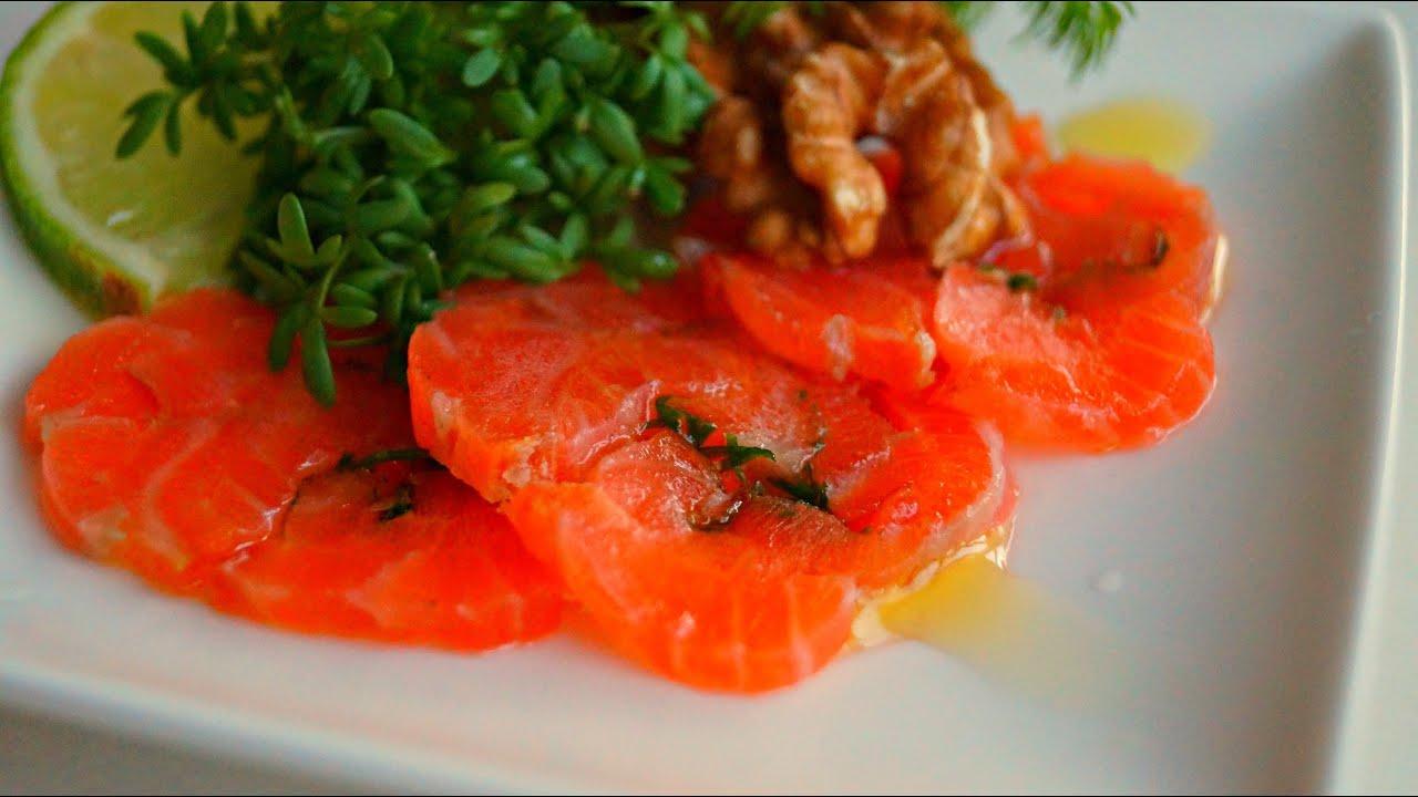 How To Make Salmon Carpaccio  Salmon Carpaccio Video Recipe  Home Made  Cold Smoked Salmon  Youtube