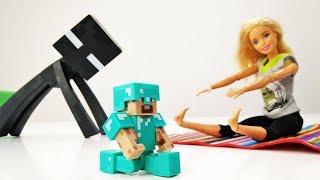 Школа гимнастики Барби - Барби тренирует Майнкрафт - Мультики с куклами