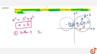 Find the equations of the circles touching y-axis at (0,3) and making    an intercept of 8 uni