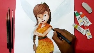 how to draw Tinker Bell and the pirate fairy Fawn