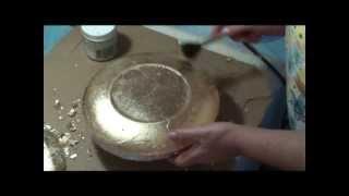 Decoupage reversa – Folheação a ouro – Craquelê com Lú Heringer