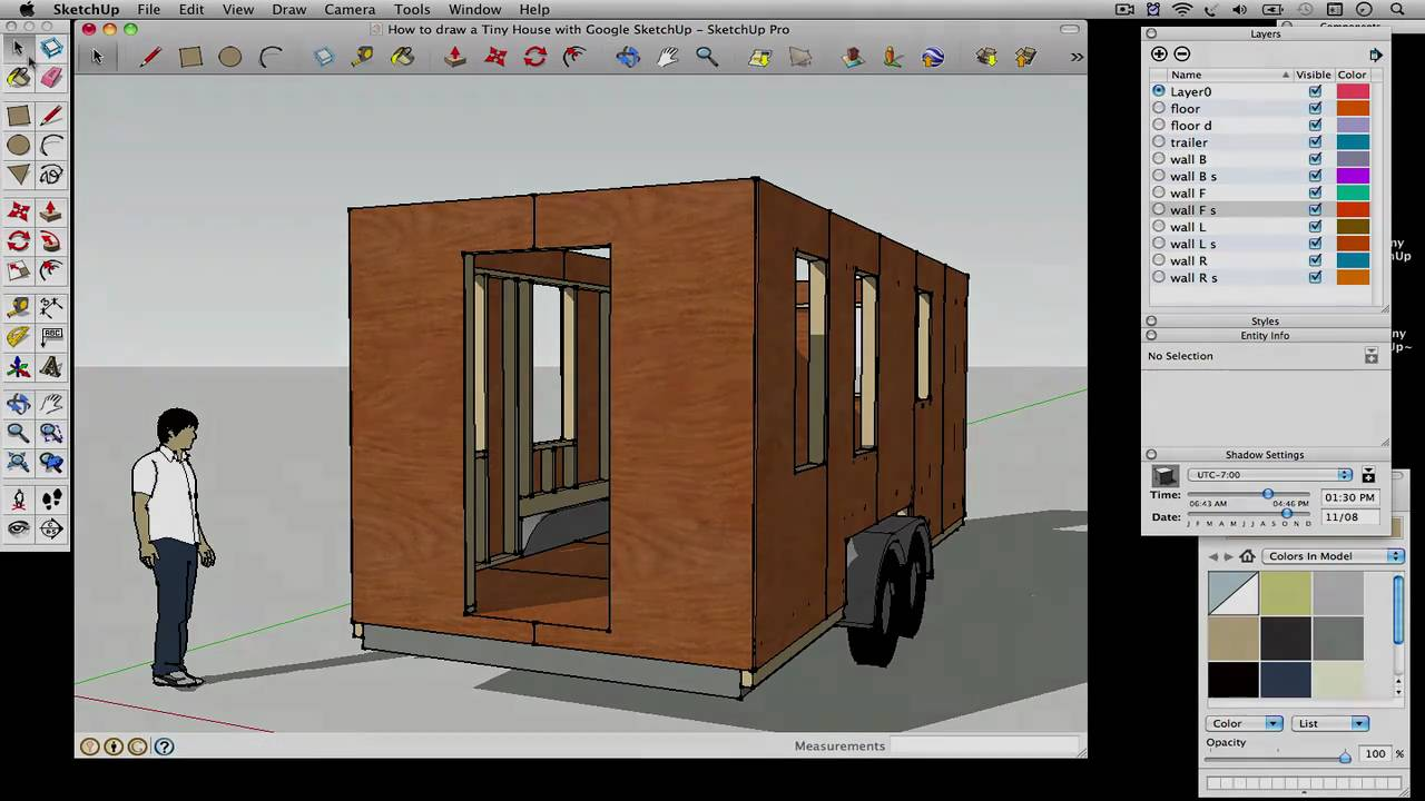 How to draw a tiny house with google sketchup part 2 for Drawing of small house