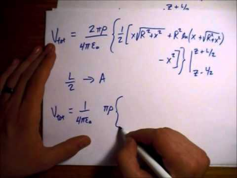 Griffiths Electrodynamics Problem 2.27: Potential and Electric Field Due to Solid Charged Cylinder