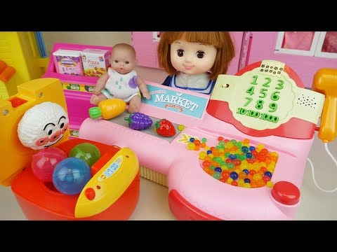 Baby doll Cooker surprise eggs and food mart register toys play