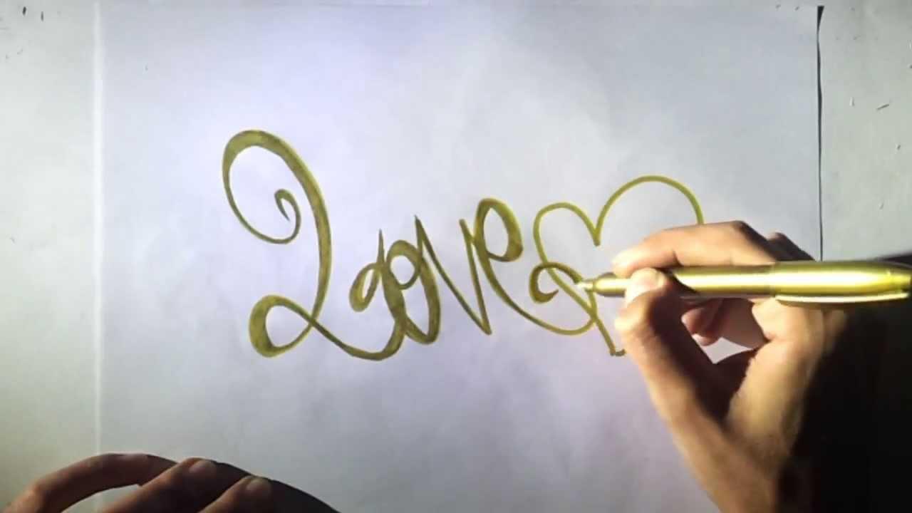 Como dibujar un graffiti de amor  YouTube