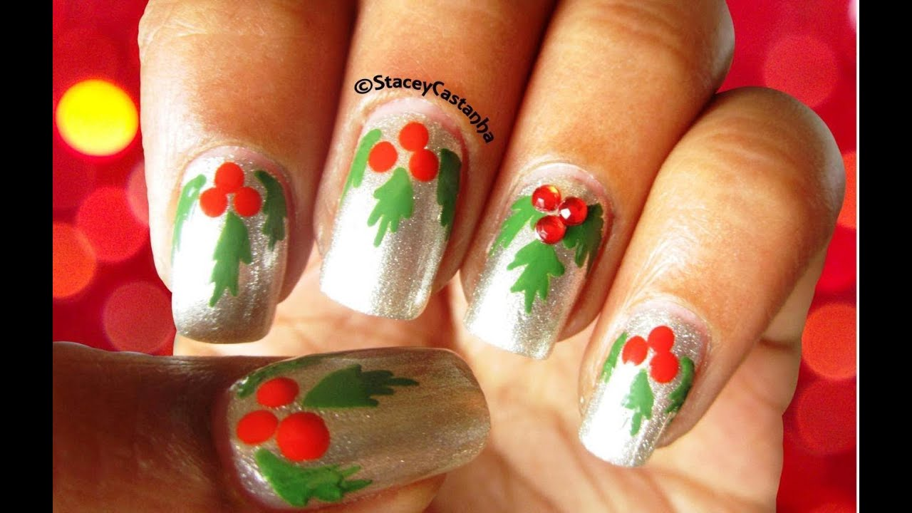 Christmas nailart easy mistletoe nails youtube prinsesfo Image collections