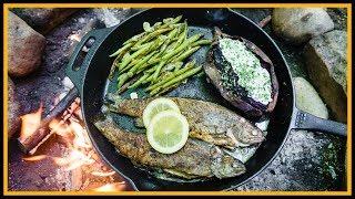 🔥 Forellen draußen kochen - Knoblauch - Fest 🐟 - Outdoor Bushcraft