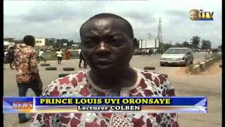 UNIBEN Students Construct Speed Brakes At Benin-Lagos Expressway By School Main Gate