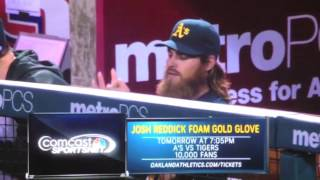 Josh Reddick having some fun on the bench