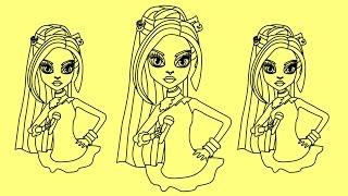 How to draw Monster High characters Catty Noir | Как нарисовать Монстер Хай Кетти Нуар